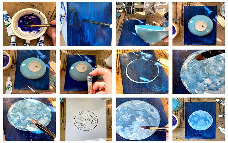 Comment peindre une pleine lune à la gouache - tutoriel étape par étape
